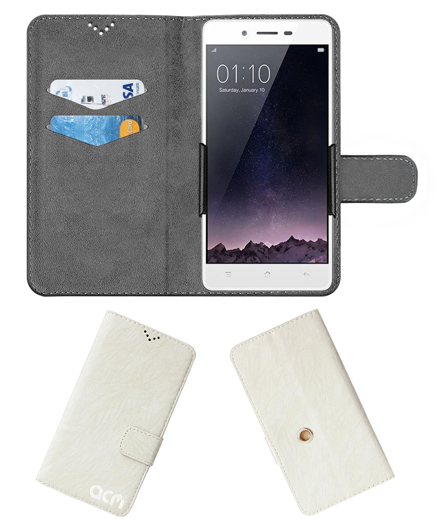 Oppo Mirror 5S Flip Cover by ACM - White Clip holder to hold your mobile securely