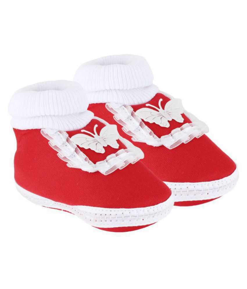Neska Moda Baby Unisex Frill Butterfly Red Booties/Shoes For 0 To 12 Months Infants-BT41