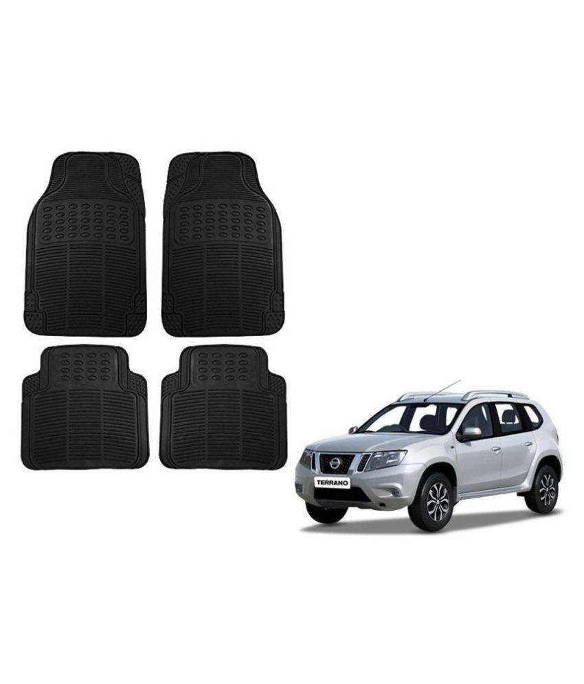 Auto Addict Car Simple Rubber Black Mats Set of 4Pcs For Nissan Terrano