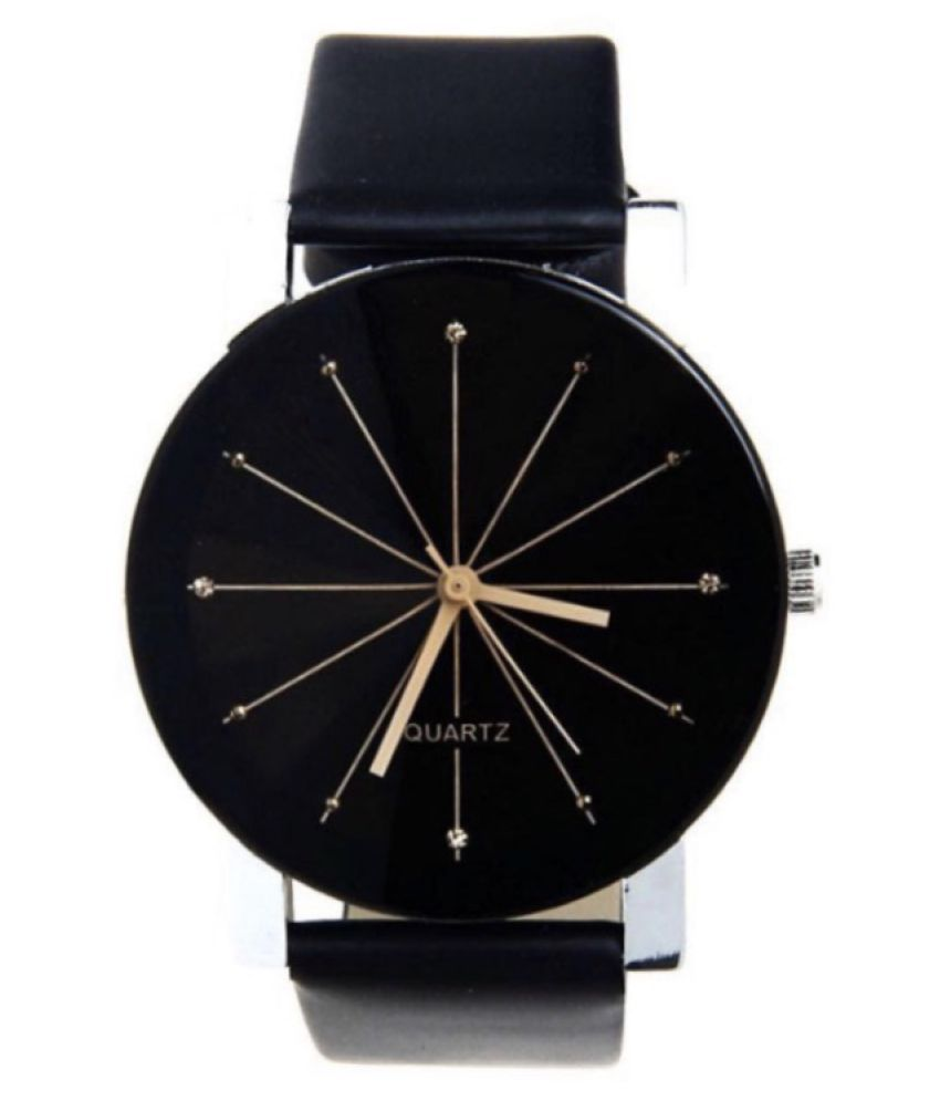 Real Time Leather Round Womens Watch