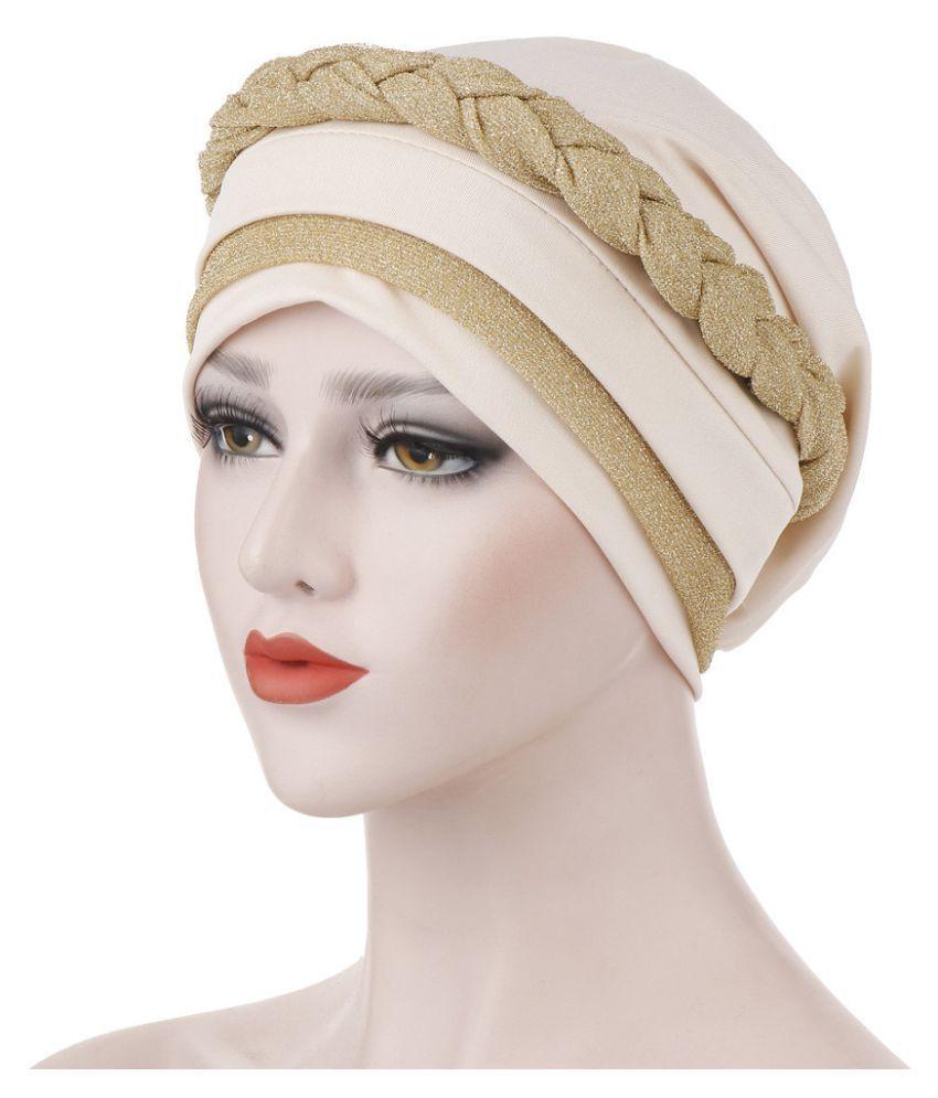 Muslim Women Frontal Cross Bonnet Turban Hat Hijab Head Wrap Cover Chemo Cap Hat