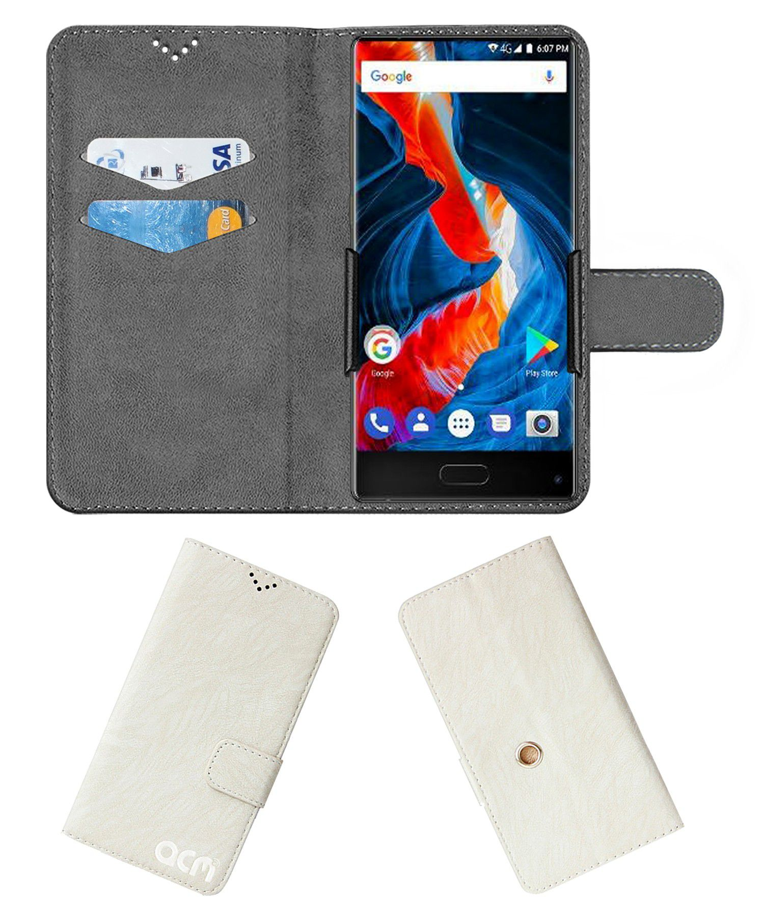 Ulefone MIX Flip Cover by ACM - White Clip holder to hold your mobile securely