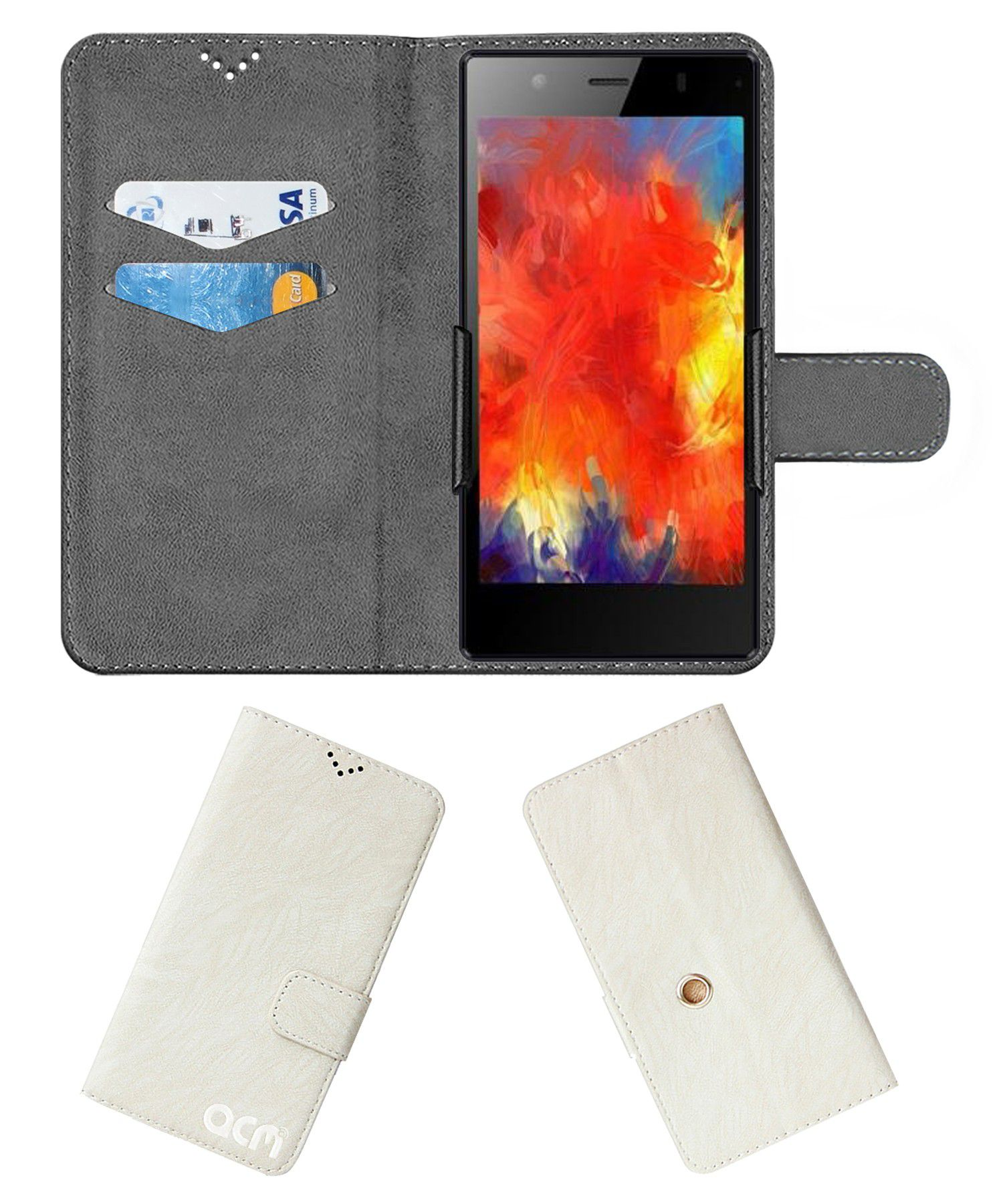 Videocon Infinium Graphite Flip Cover by ACM - White Clip holder to hold your mobile securely