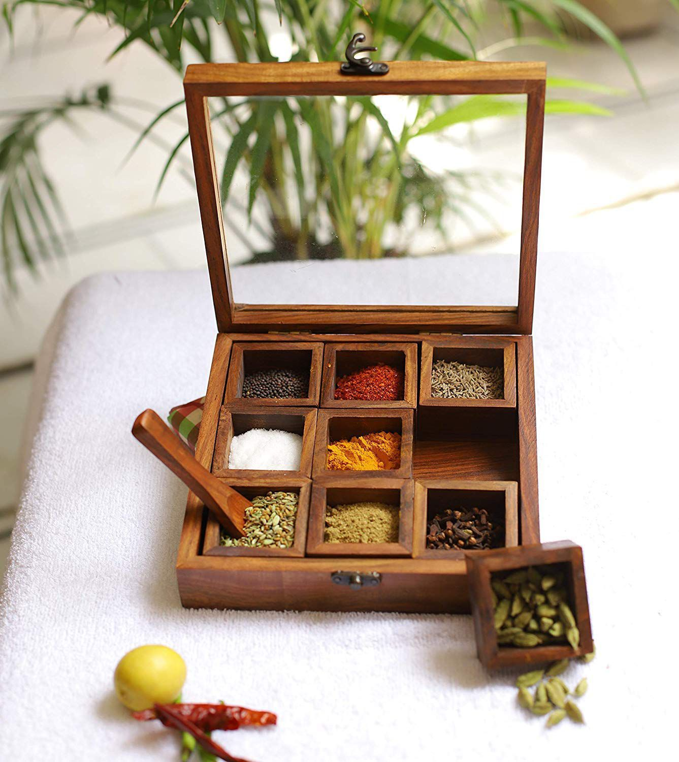 Xclusive Plus Wooden Masala Box 9 compartments with wooden spoon