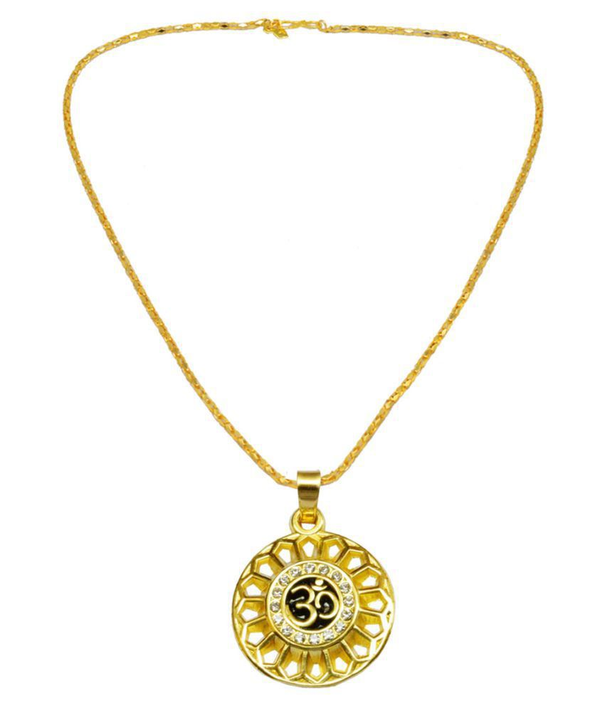 Men Style Religious Jewelry Om Yoga Locket With Chain Gold-plated Zinc, Brass Pendant