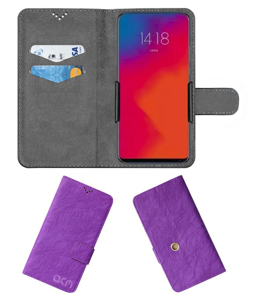 Lenovo Z5 Pro Flip Cover by ACM - Purple Clip holder to hold your mobile securely