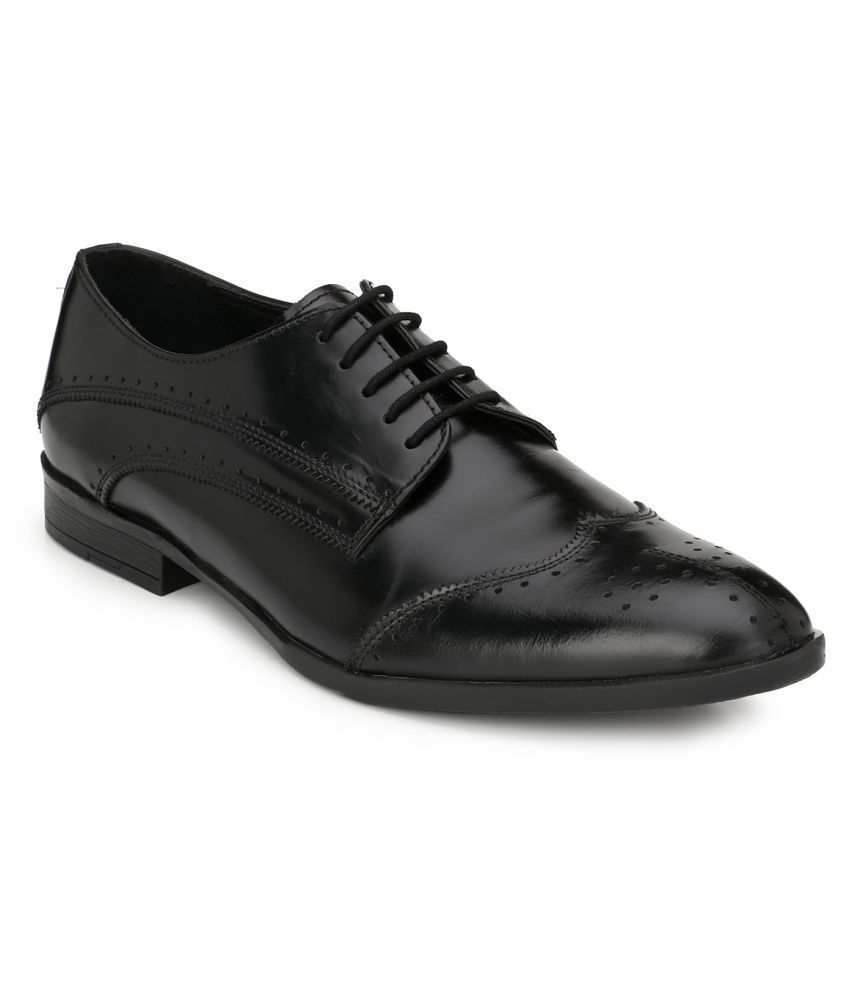 Missali Shoes Brogue Genuine Leather Black Formal Shoes