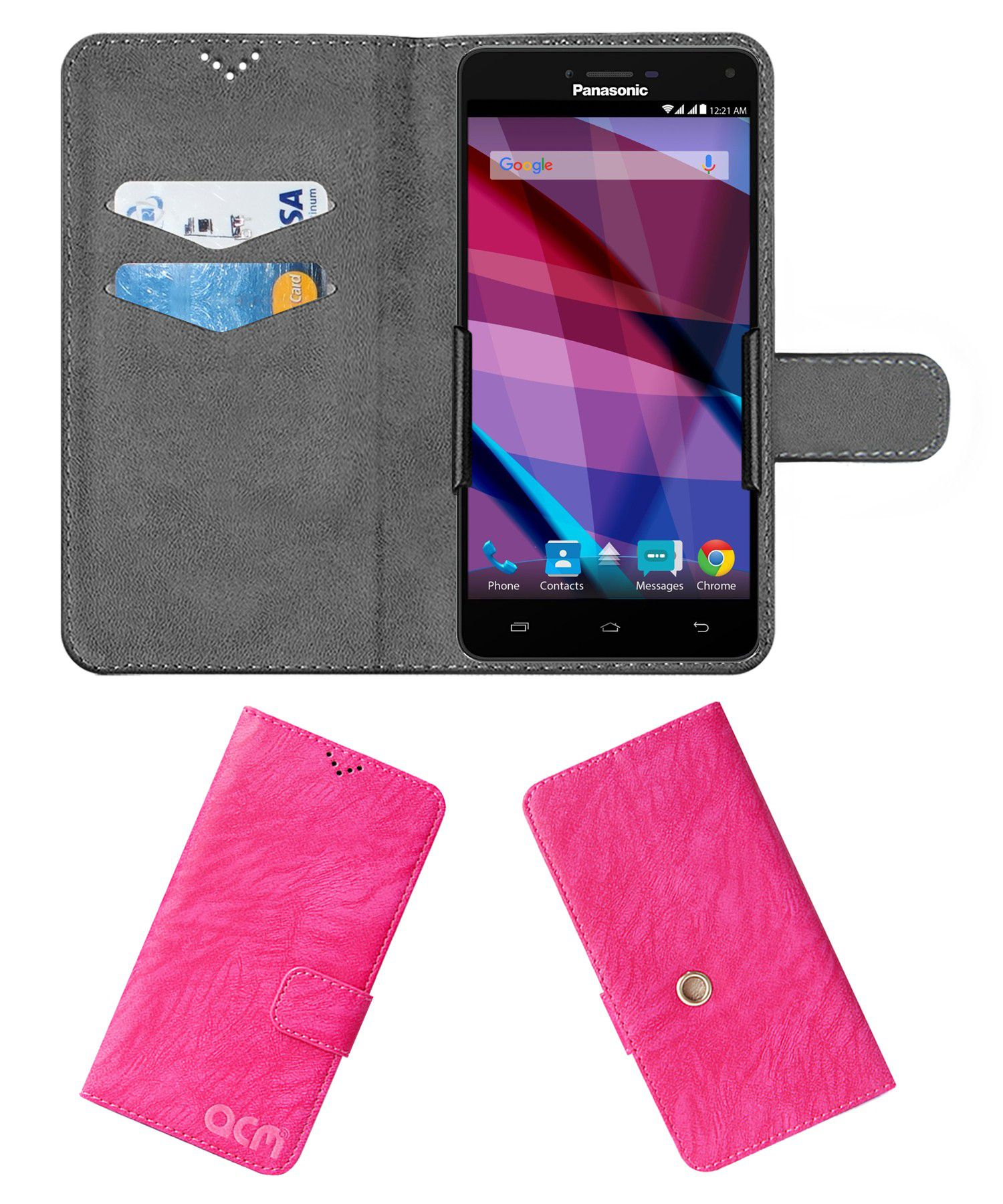 Panasonic Eluga Icon 2 Flip Cover by ACM - Pink Clip holder to hold your mobile securely