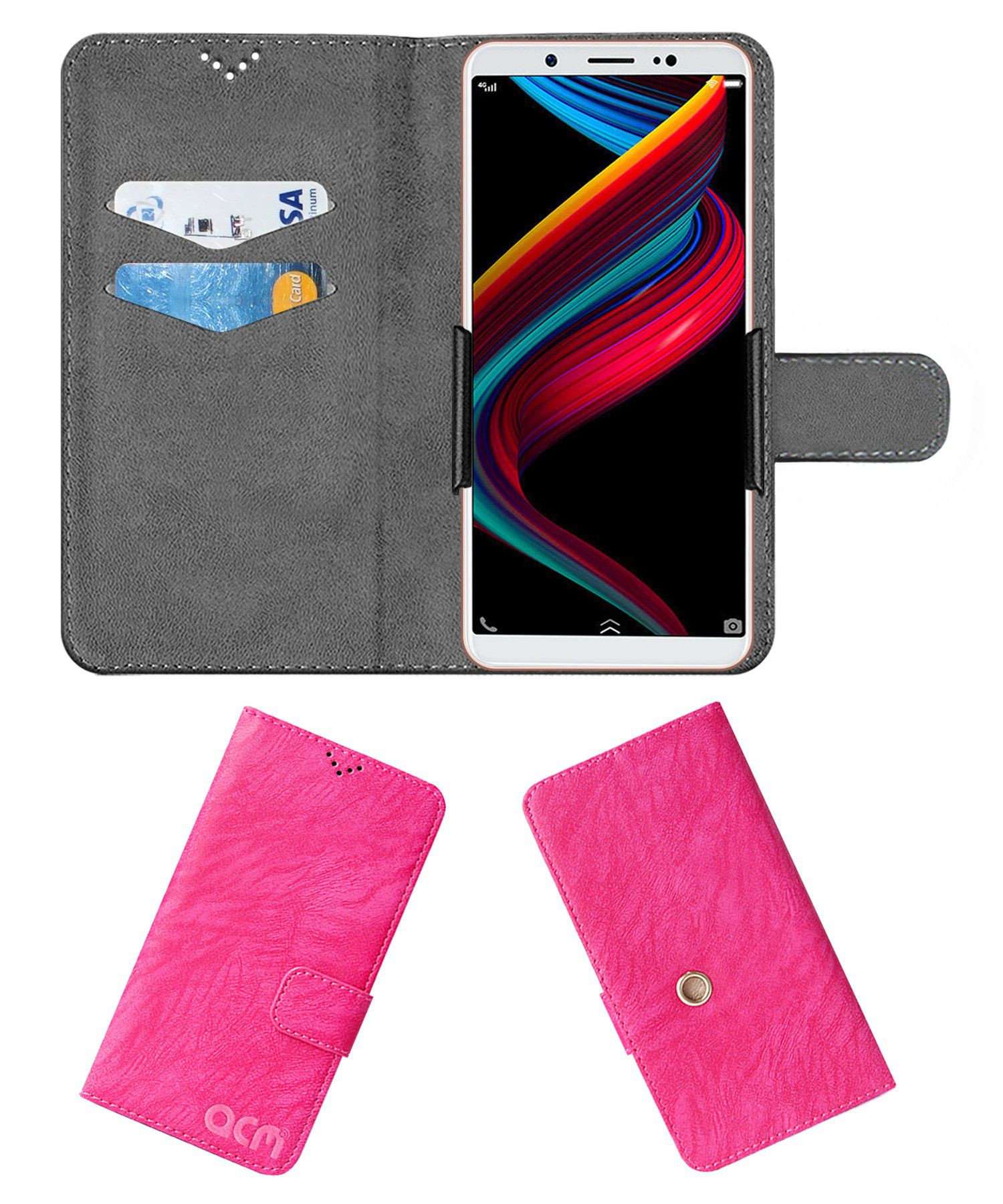 Vivo Z10 Flip Cover by ACM - Pink Clip holder to hold your mobile securely
