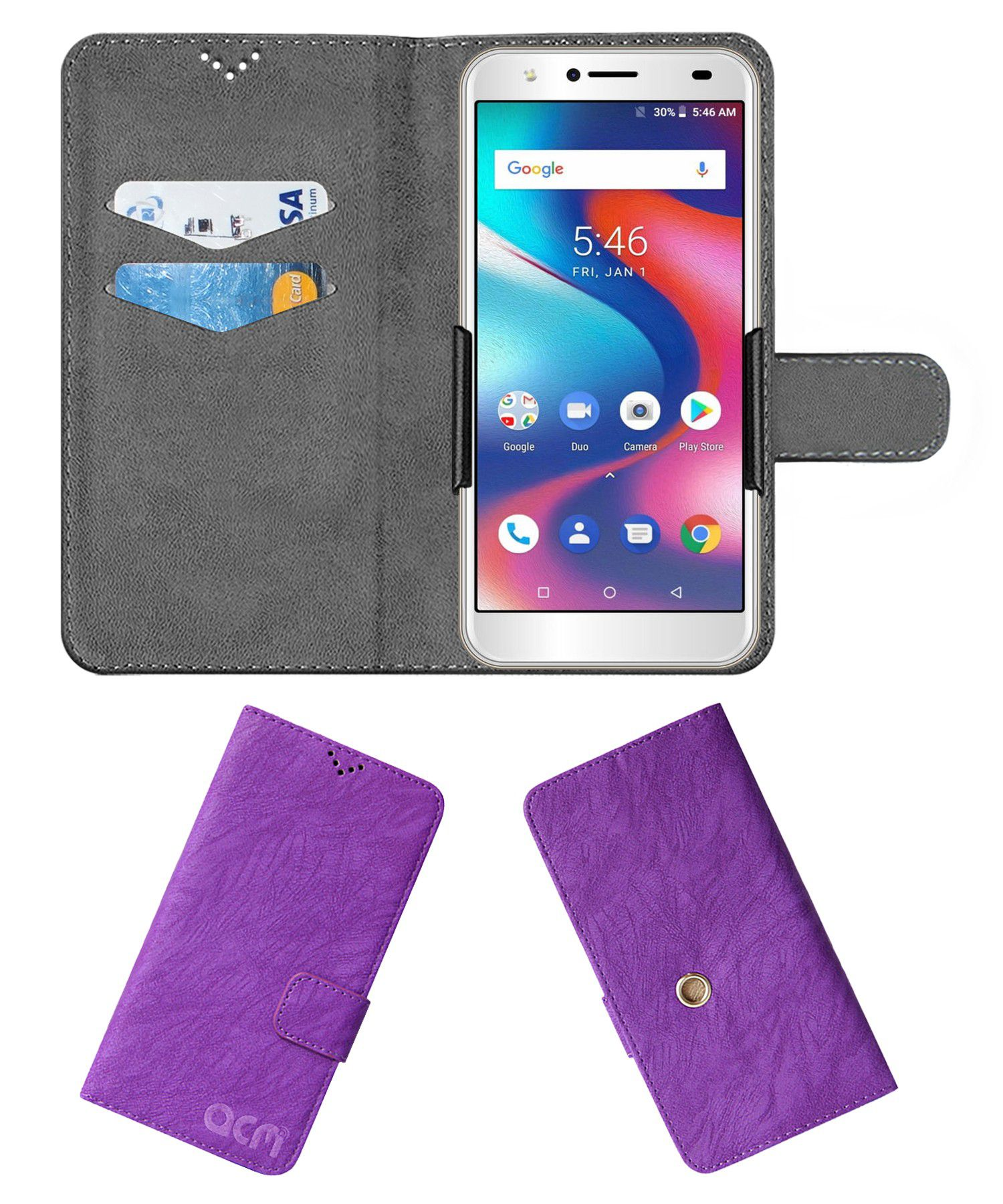 Yuho O2 Pro Flip Cover by ACM - Purple Clip holder to hold your mobile securely