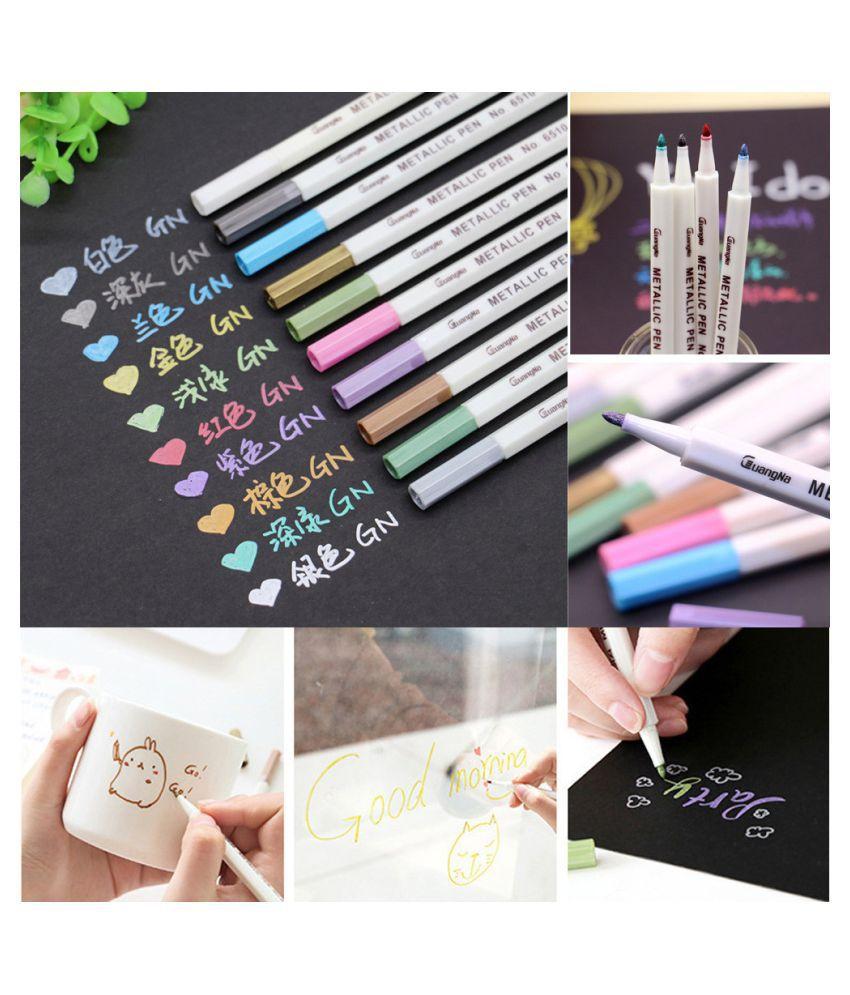 12 X Metallic Markers Paints Pens Point Metallic Marker Pens Black Paper Glass