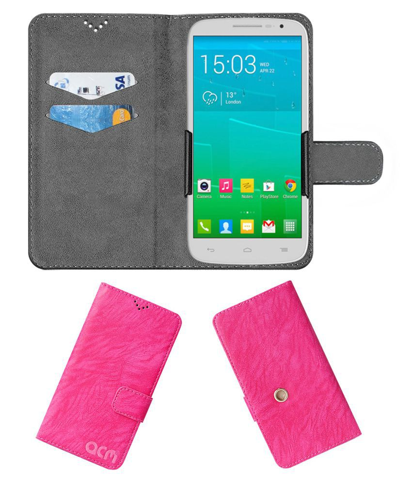 Alcatel POP S9 Flip Cover by ACM - Pink Clip holder to hold your mobile securely