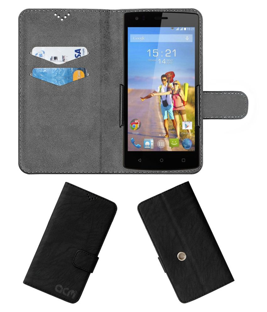 Fly Fs502 Flip Cover by ACM - Black Clip holder to hold your mobile securely