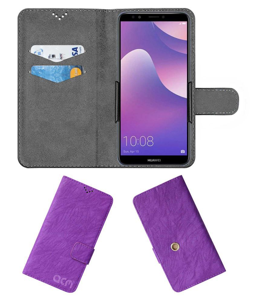 Huawei Y7 Prime 2018 Flip Cover by ACM - Purple Clip holder to hold your mobile securely