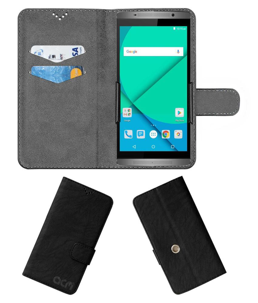 Micromax Canvas Mega 2 Q426 Flip Cover by ACM - Black Clip holder to hold your mobile securely