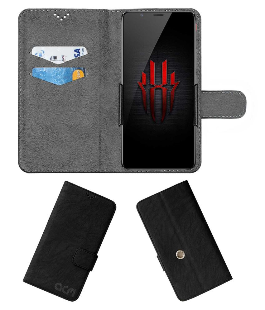 Nubia Red Magic Flip Cover by ACM - Black Clip holder to hold your mobile securely