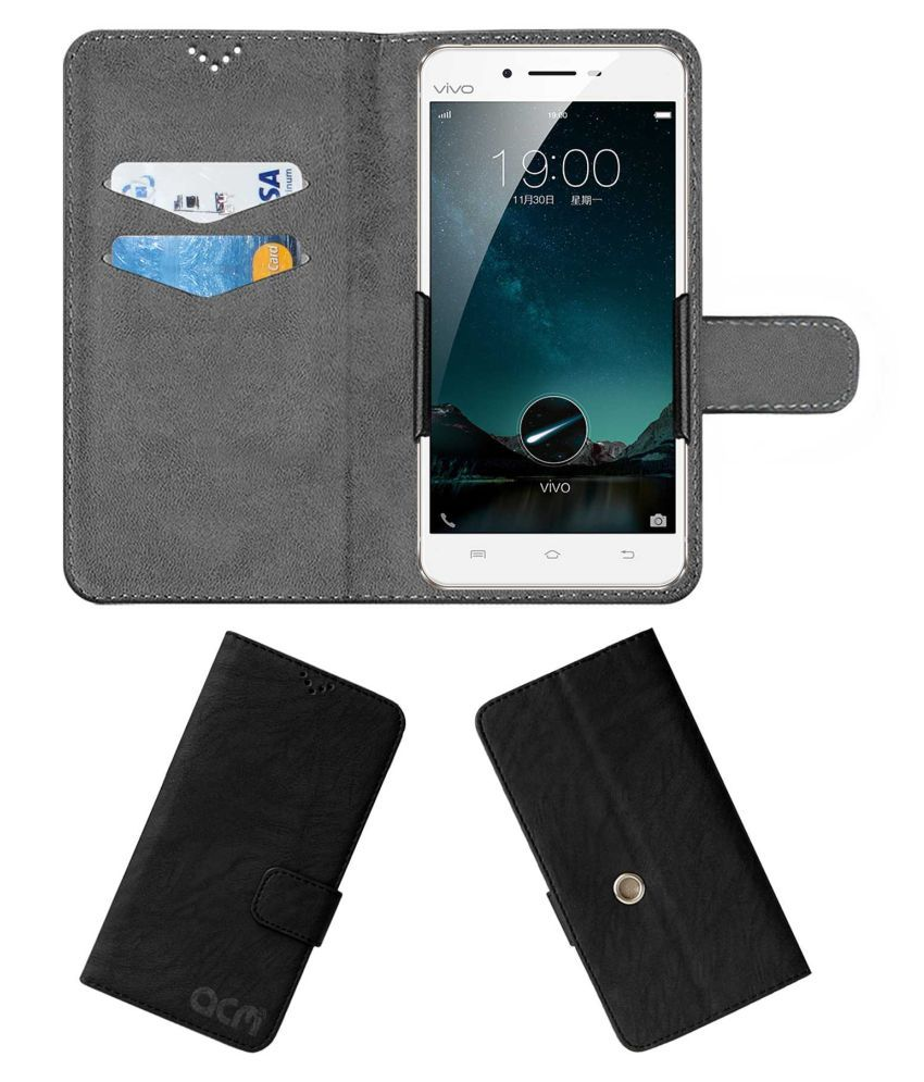 Vivo X6 Plus Flip Cover by ACM - Black Clip holder to hold your mobile securely