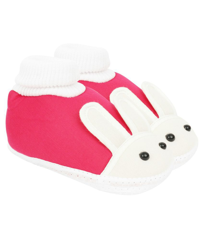 Neska Moda Baby Soft Pink Booties For Age Group 18 To 24 Months-BT195