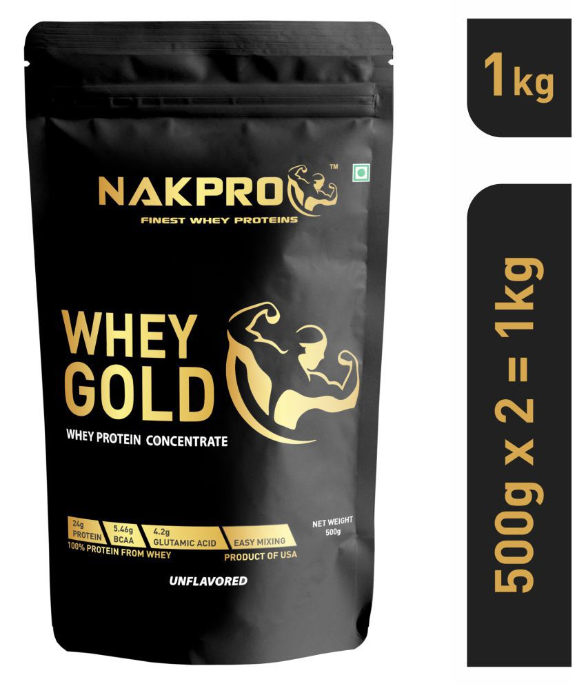NAKPRO GOLD Whey Protein Concentrate 80% raw -Unflavored, 500g (Pack of 2)
