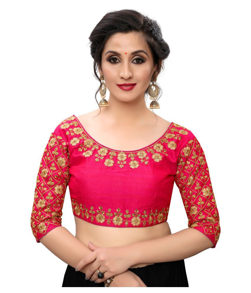 Fab Dadu Pink Silk Readymade with Pad Blouse