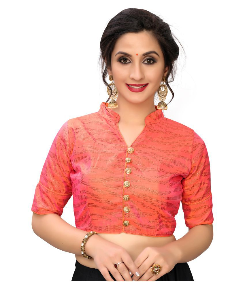 Shubh Sanidhya Peach Silk Readymade with Pad Blouse