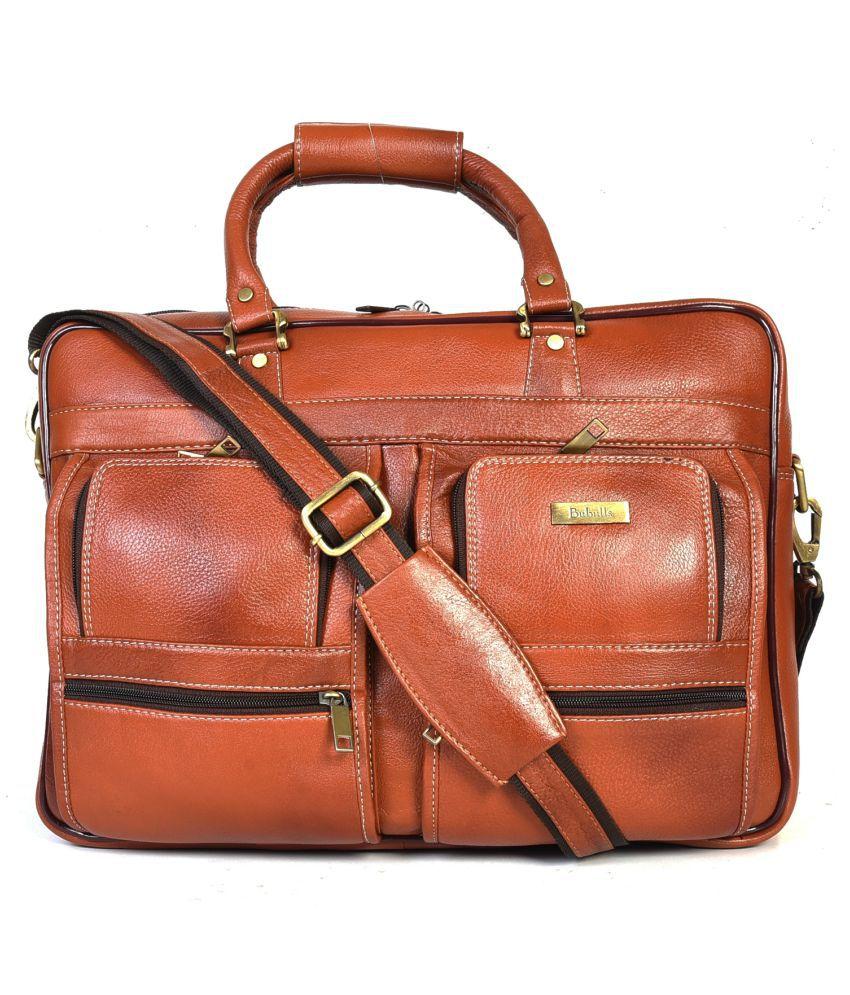 bubulls PL-1026 Tan Leather Portfolio
