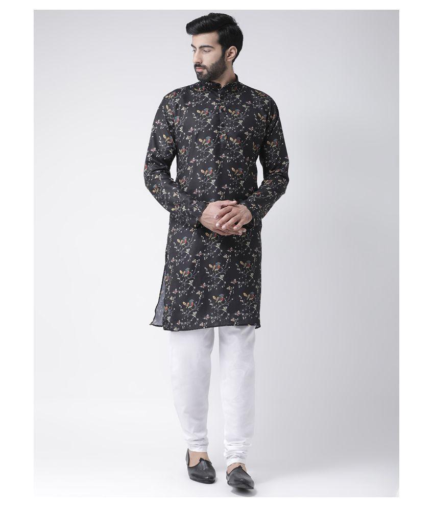 Hangup Black Cotton Kurta Pyjama Set