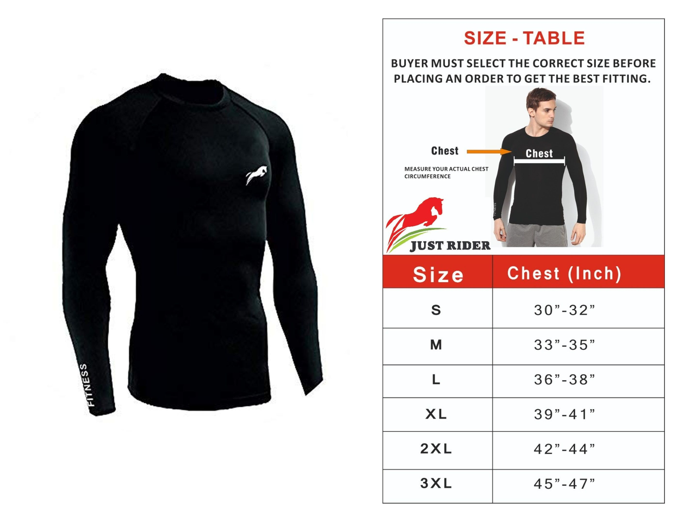 Just Rider 100% Polyester Compression T-SHIRT 'Top Full Sleeve Plain Athletic Fit Multi Sports Cycling, Cricket, Football, Badminton, Gym, Fitness & Other Outdoor Inner Wear