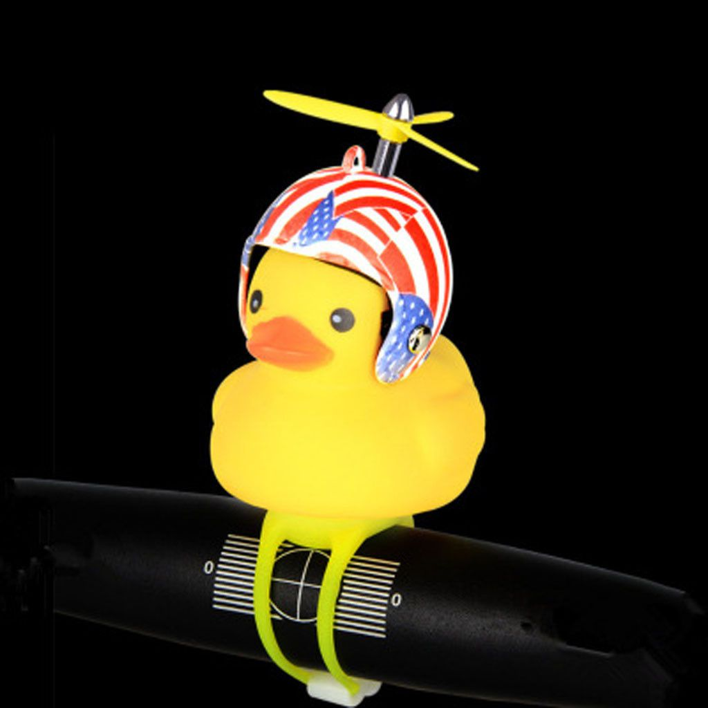 2032 Yellow Little Duck Shape Bicycle Bell Shining Mountain Bike Head Light