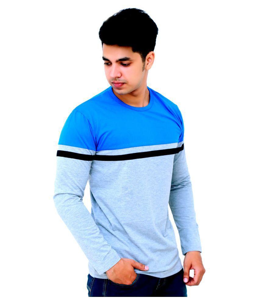 Faricon Cotton Blend Blue Solids T-Shirt