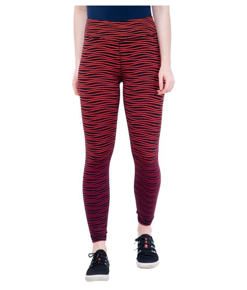 ACTIVE & ALIVE Red Polyester Printed Tights