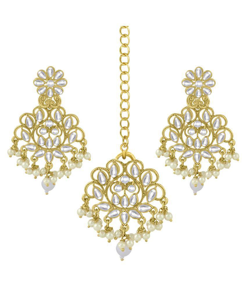 Spargz Ethnic Wedding Wear Gold Plated Kundan & Pearl Maangtikka Earring For Women