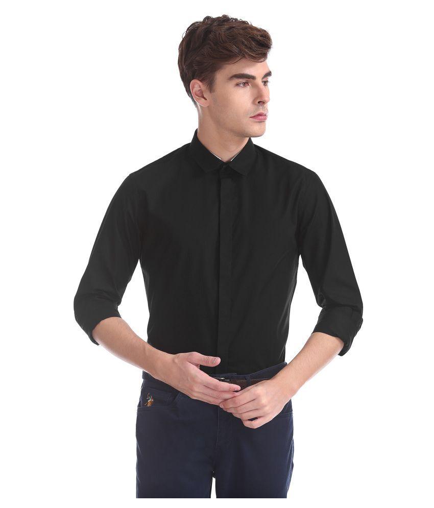 Flying Machine Cotton Blend Black Solids Shirt