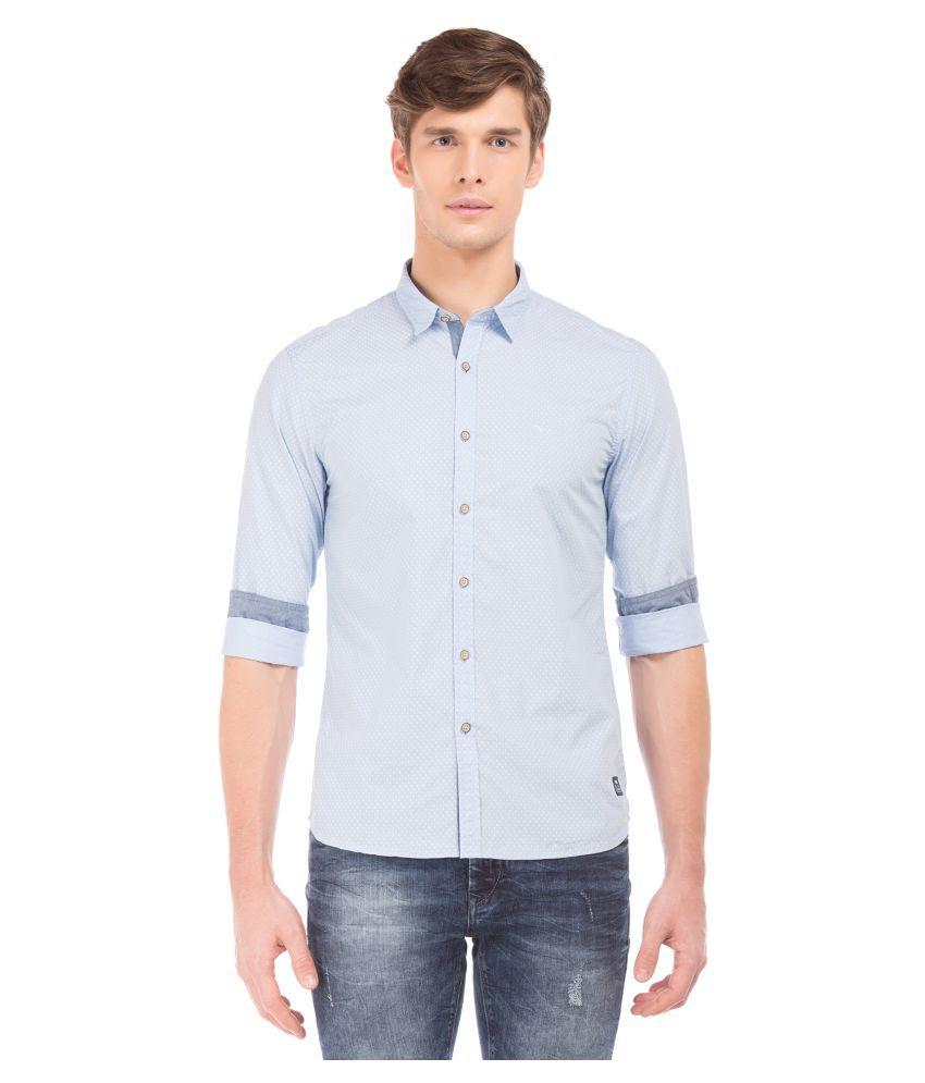 Flying Machine Cotton Blend Blue Prints Shirt