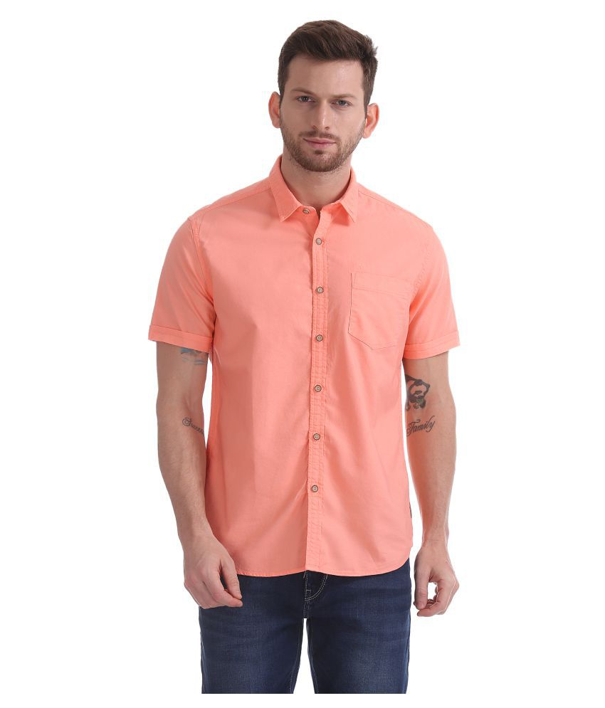 Flying Machine Cotton Blend Pink Solids Shirt
