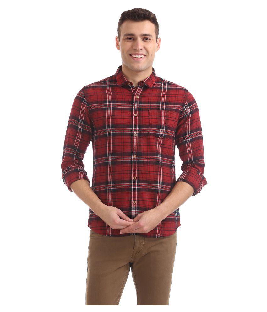 Flying Machine Cotton Blend Red Checks Shirt