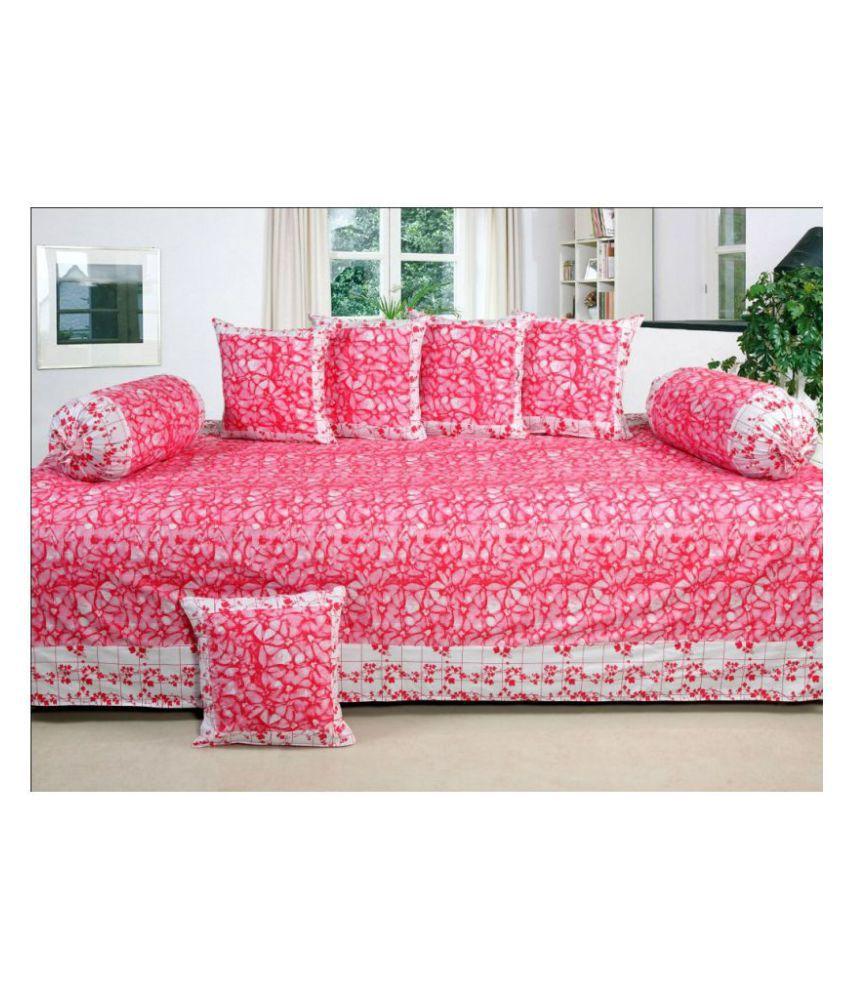 HomeStore-YEP Cotton Red Floral Diwan Set 8 Pcs