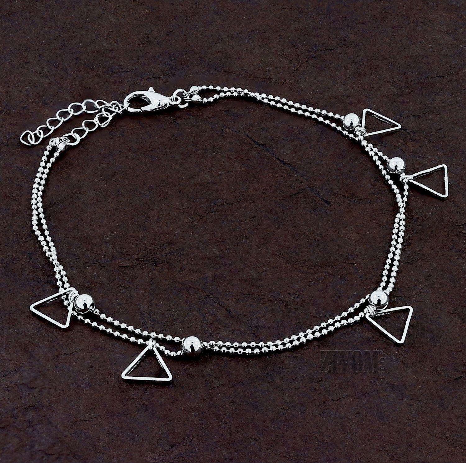Zivom® Triangle Stylish Indo Western Dainty Delicate Charms Single Leg Anklet Payal for Women Girls