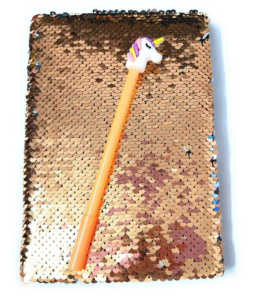 Prezzie Villa Rose Gold Magic Sequins Diary with Unicorn Pen