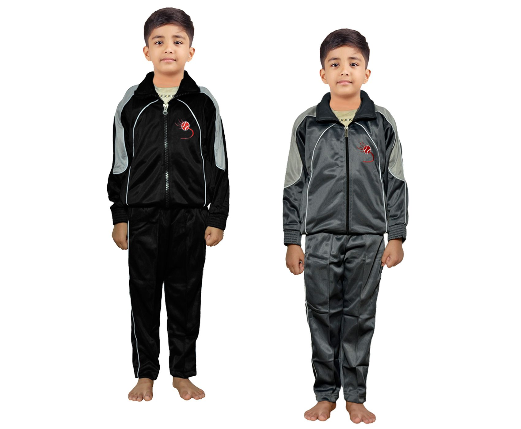 IndiWeaves Boys Solid Polyester Track Suit for Winters (Pack of 2)