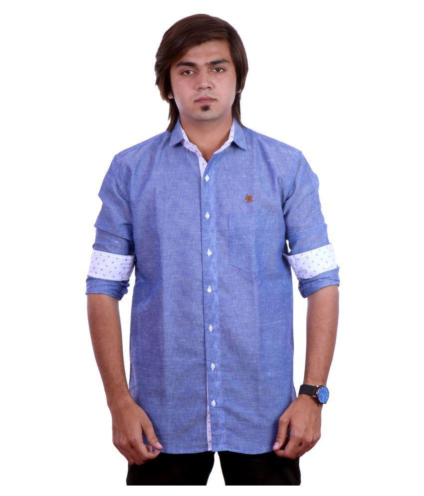 PP Shirts Linen Blue Solids Shirt