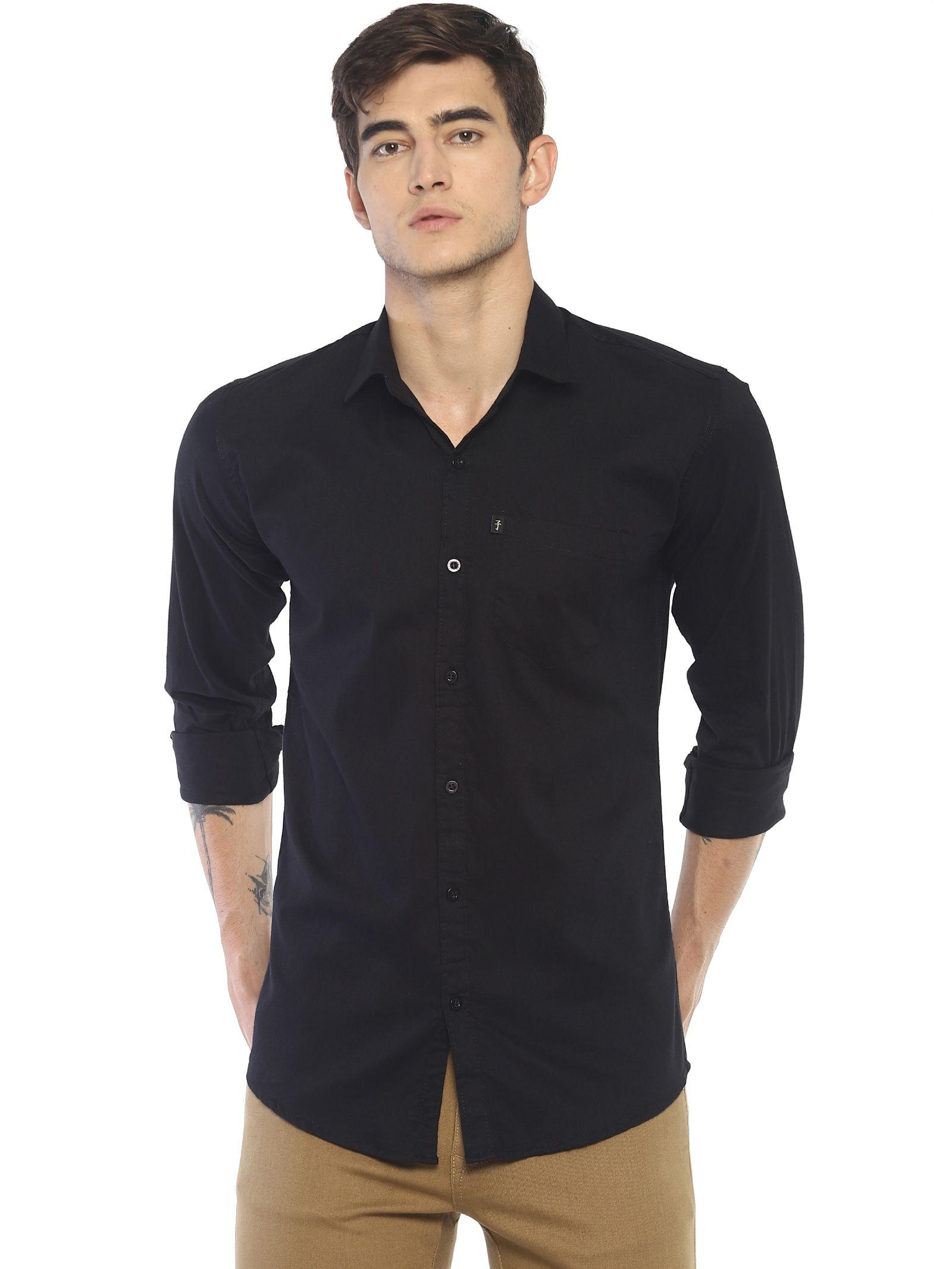 Levizo 100 Percent Cotton Black Solids Shirt
