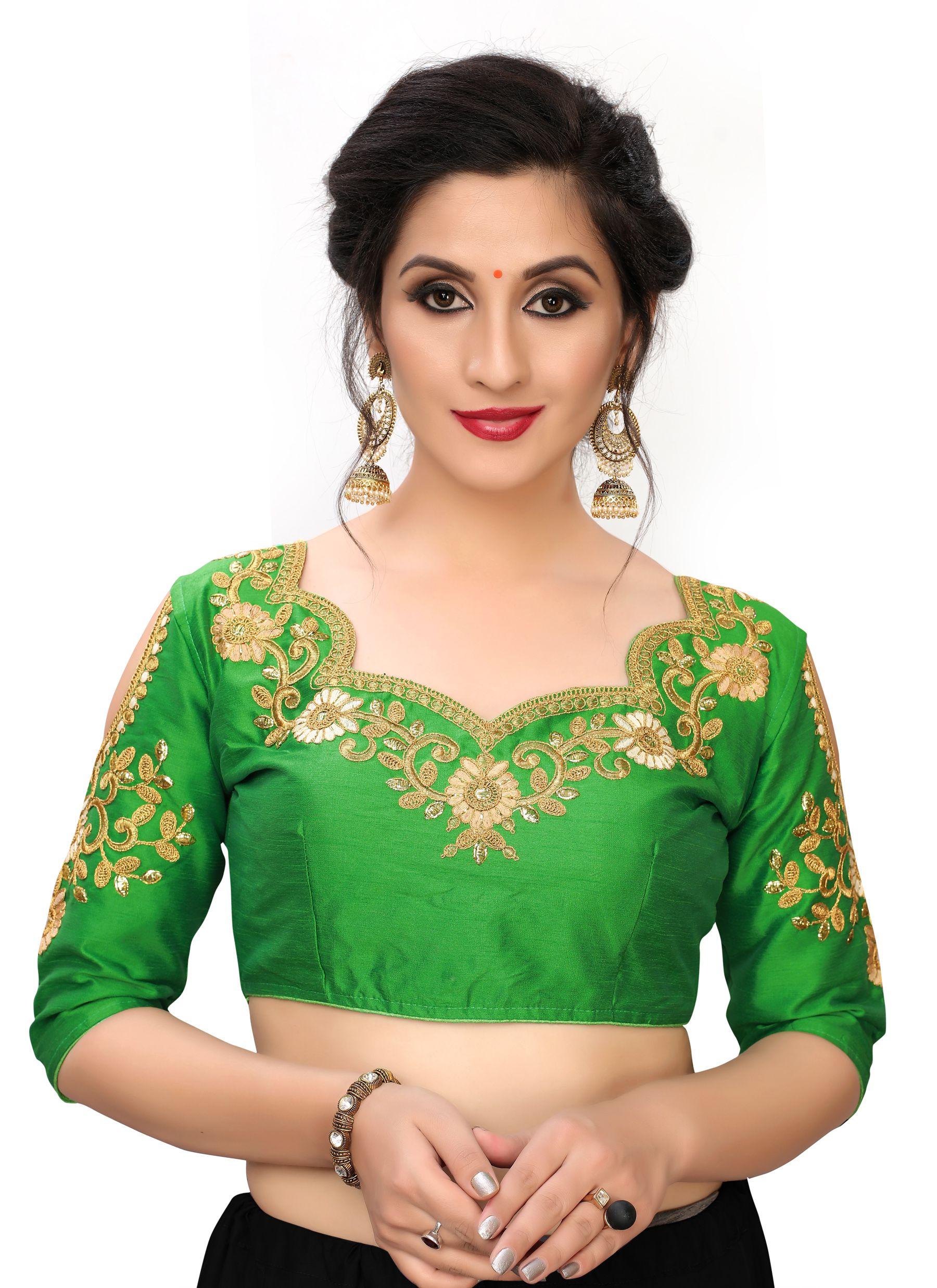 Amrutam Fab Green Silk Readymade with Pad Blouse