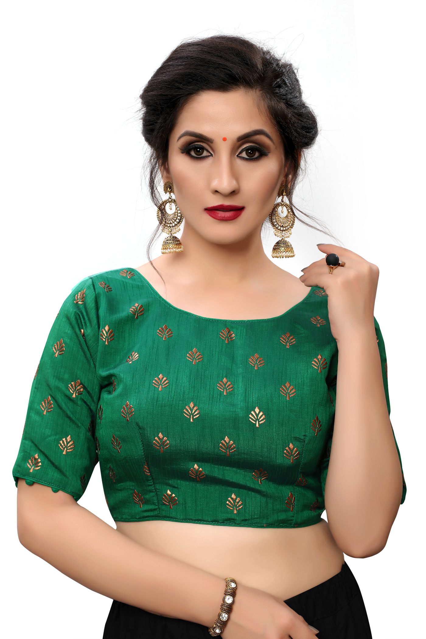 Amrutam Fab Green Silk Readymade with Pad Blouse