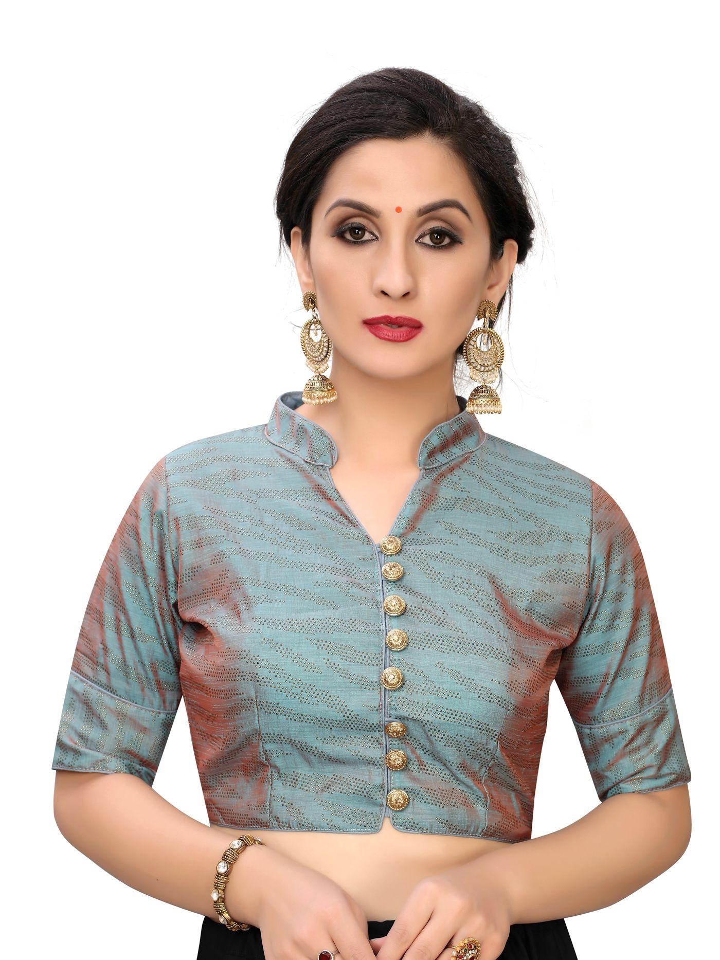 Amrutam Fab Grey Silk Readymade with Pad Blouse