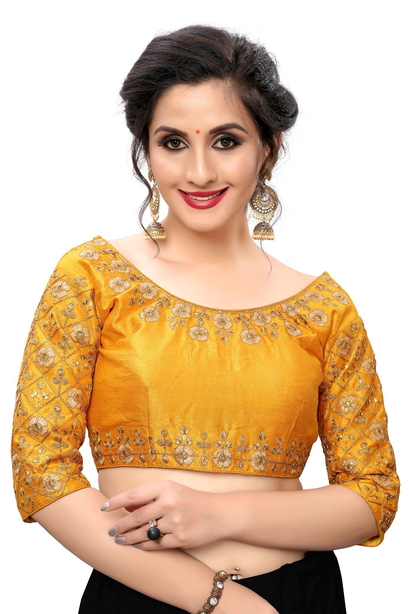 Amrutam Fab Yellow Silk Readymade with Pad Blouse