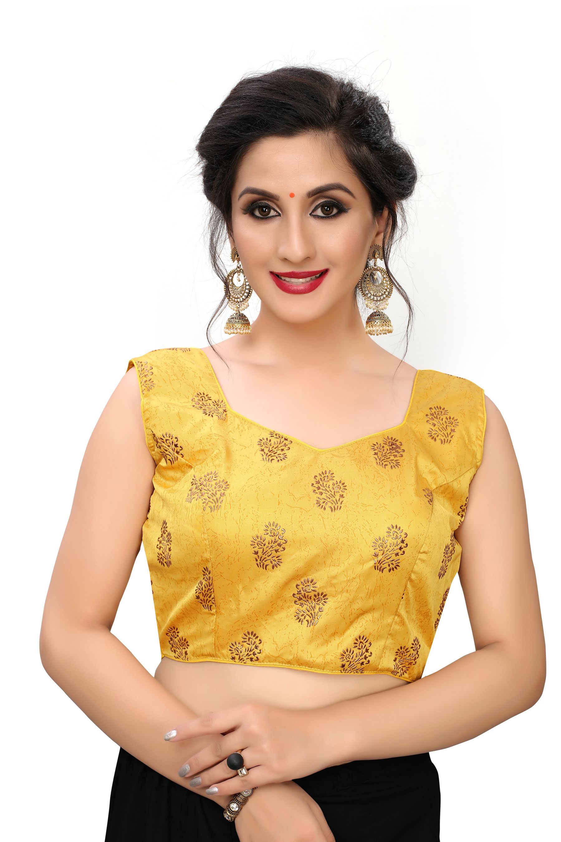 Amrutam Fab Yellow Silk Readymade with Pad Blouse