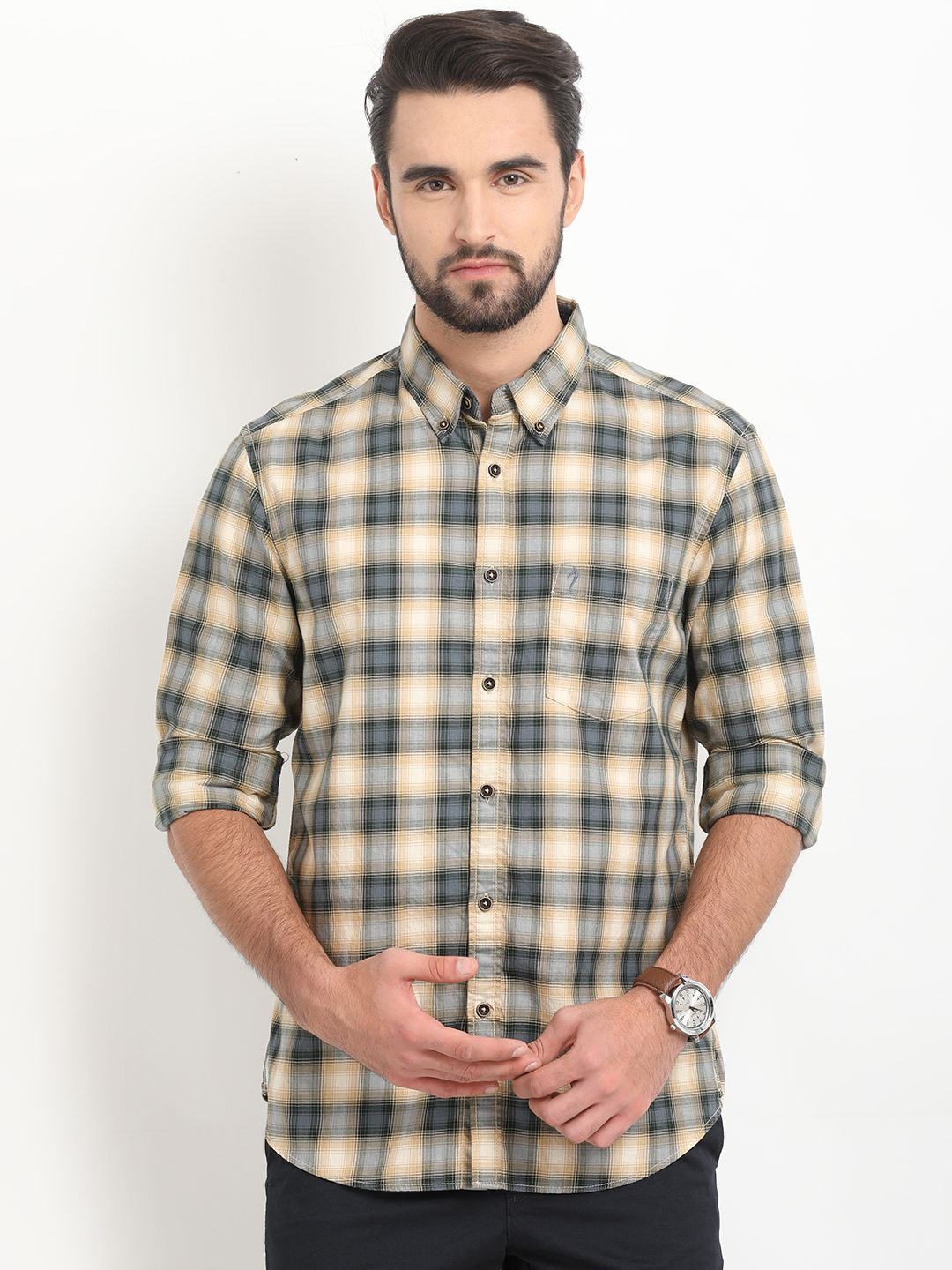 Indian Terrain 100 Percent Cotton Yellow Checks Shirt