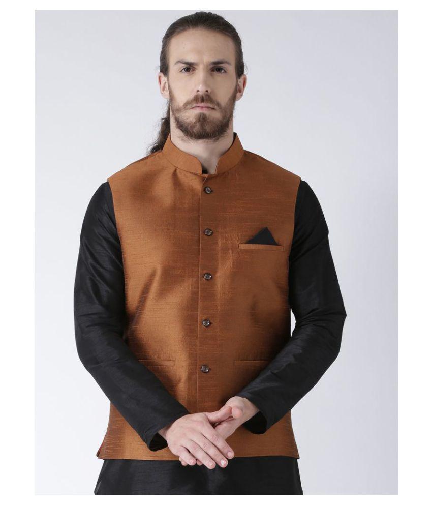 Deyann Brown Silk Blend Nehru Jacket