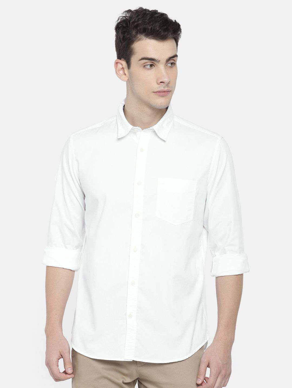 Indian Terrain 100 Percent Cotton White Solids Shirt